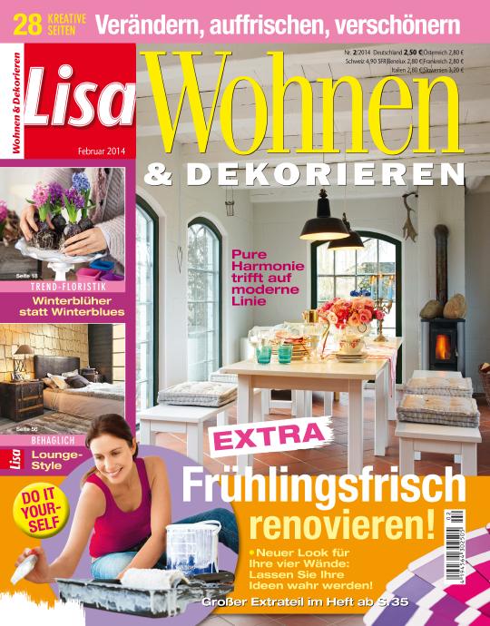 lisa wohnen und dekorieren 02 2014. Black Bedroom Furniture Sets. Home Design Ideas